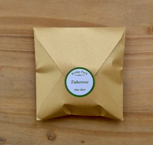 Bridge Park Candle Company Tuberose Wax Melt in a small gold envelope