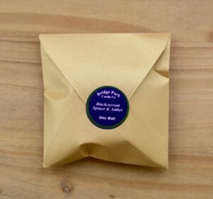 Bridge Park Candle Company Blackcurrant Spruce & Amber Wax Melt in Gold Envelope