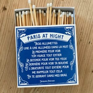 Box of letterpress printed matches with poem in french