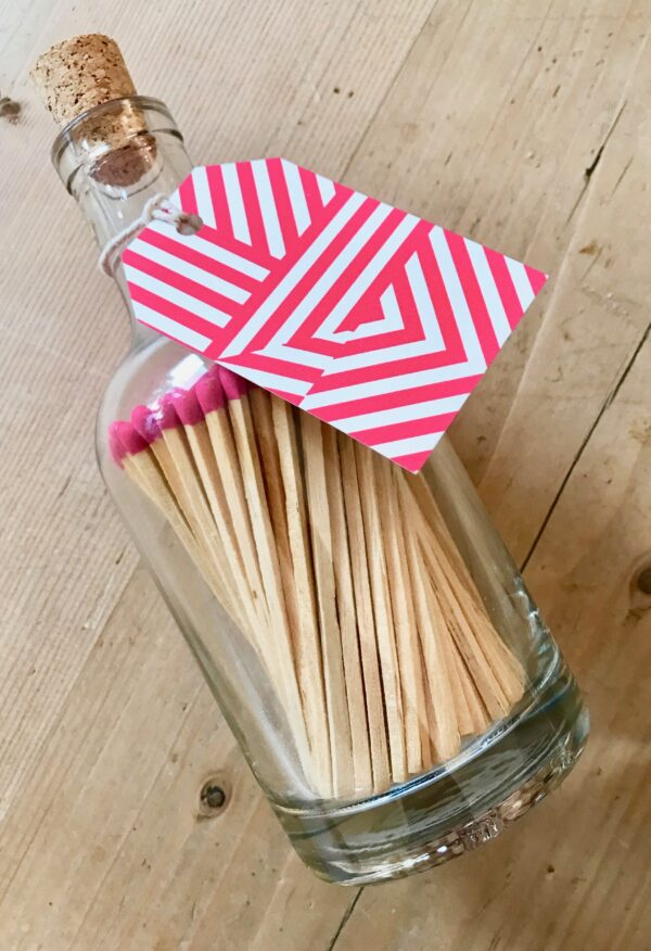 Glass Bottle of Extra Long Luxury Matches Pink Tips