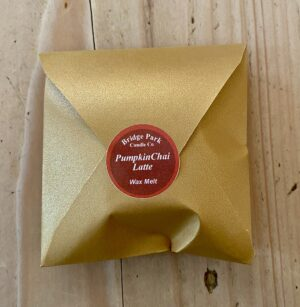 Bridge Park Candle Company Pumpkin Chai Latte wax melt in a square gold envelope