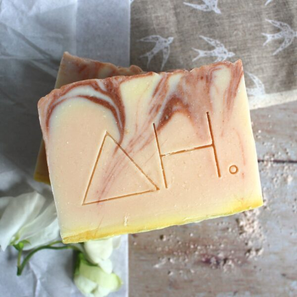 Bar of pink clay essential oil soap