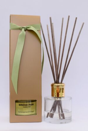 Reed diffuser displayed both packaged and unpackaged
